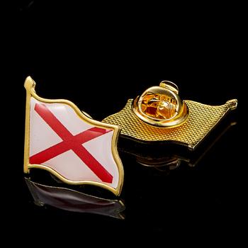 Flaga ameryki przypinka Liberty pozłacane stan narodowy Alabama agrafki odznaka motyl klip kołnierz Pin tanie i dobre opinie Patriotyzmu Amerykański styl Metal multicolor 2 1cm*1 9cm Clothing Tie Suit Travel Official