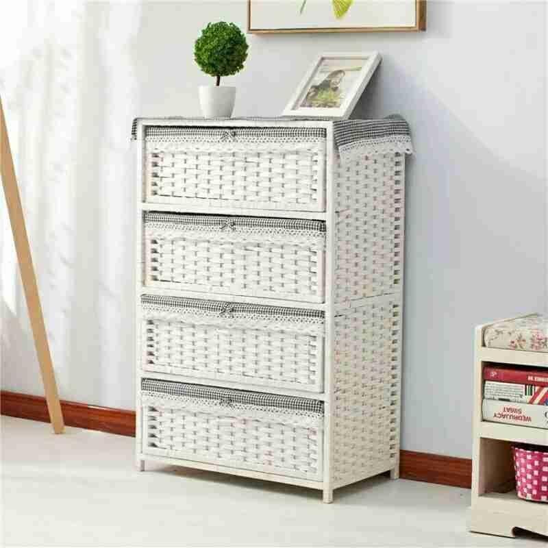 Соломенный тканый шкаф для хранения ящиков, прикроватный столик для сада, модная простая коробка для хранения детской одежды - 3