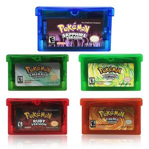 32 Bit Video Game Cartridge Console Card Pokemon Series Emerald/Sapphire/Ruby/Leaf Green/Fire Red English Language US Version