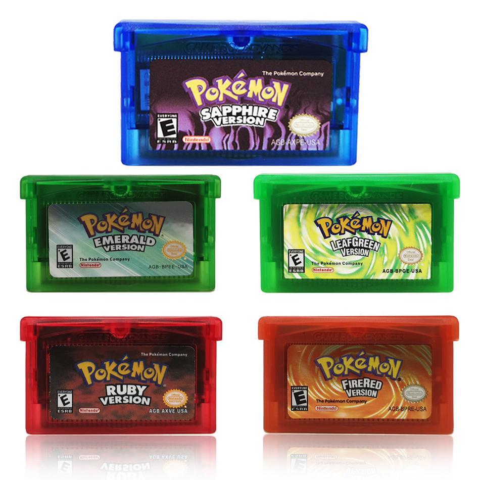 Картридж для игровой консоли, 32 бита, для Nintendo GBA Pokemon Изумрудный первичный листовой зеленый рубиновый Сапфир с блестящей этикеткой