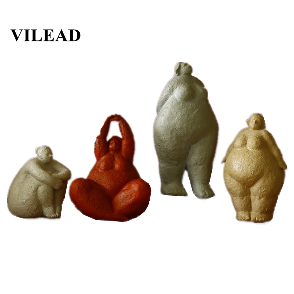 VILEAD 18cm 35cm Resin Abstract Fat Lady Figurines Nordic Creative Woman Ornament Vintage Home Decoration Room Table Craft Gifts