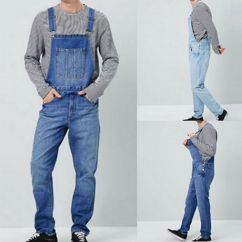 2020 Men Solid Slim Vintage Denim Pantalon Overalls One Piece Full Length Jeans Casual Straight Jeans Pockets Button Strap Pants