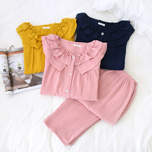 Womens New Casual Round Neck Pajamas Three Quarter 100% Cotton Solid Crepe Pajama Set Woman Sleepwear Loungewear Home Clothes