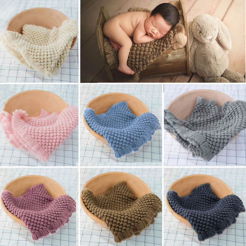 Cotton Wool Crochet Baby Blanket Newborn Infants Toddlers Photography Props Shooting Basket Filler Chunky Knit Pad