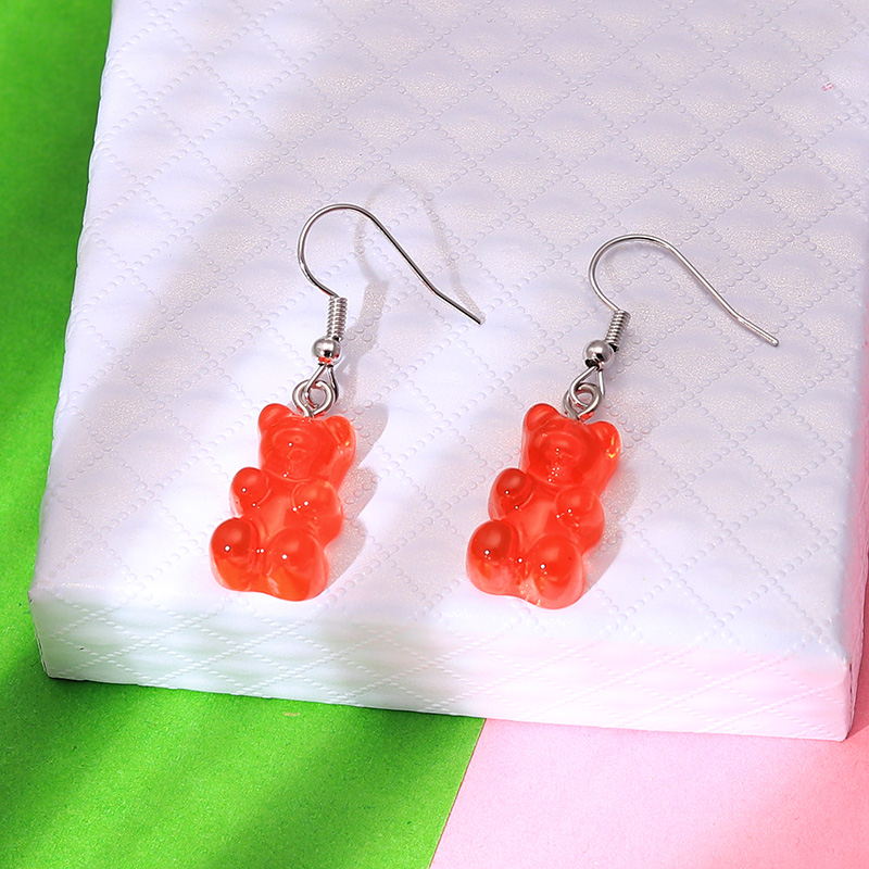 H5d94924ef2d04cbe8ff4ce2cb48ec1afe - 1 Pair Creative Cute Mini Gummy Bear Earrings Minimalism Cartoon Design Female Ear Hooks Danglers Jewelry Gift