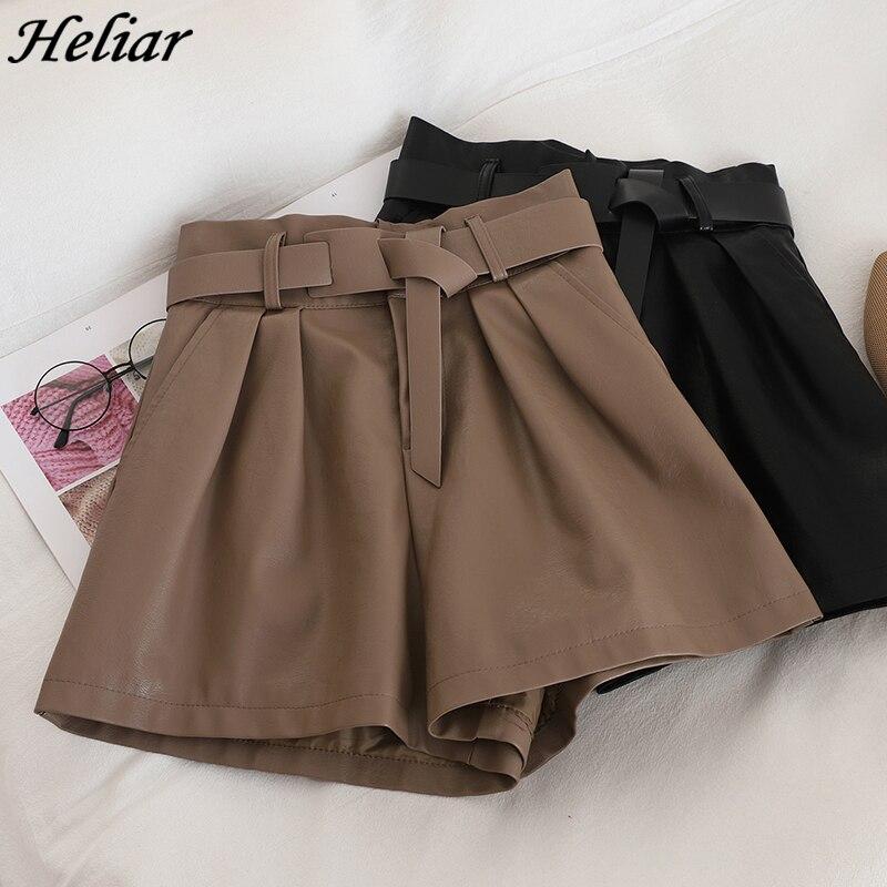 HELIAR Highstreet Shorts With Waist Belt Women Woolen Shorts Wide Leg Outwear Shorts 2019 Fall INS Hot Sexy Leather Shorts Women