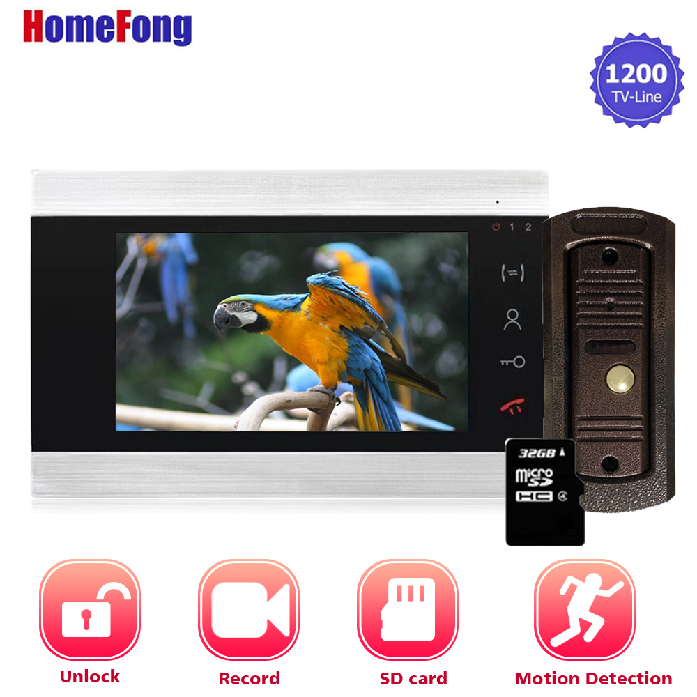 Homefong 7 Inch Video Intercom System With Motion Sensor Video Door Phone Doorbell With Camera Record Unlock Day Night