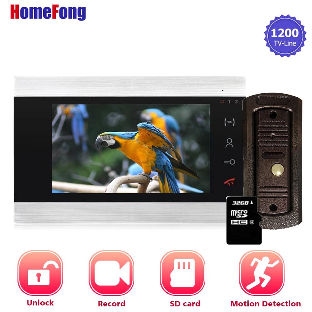 Homefong 7 Inch Video Intercom System With Motion Sensor Video Door Phone Doorbell With Camera Record Unlock Day Night