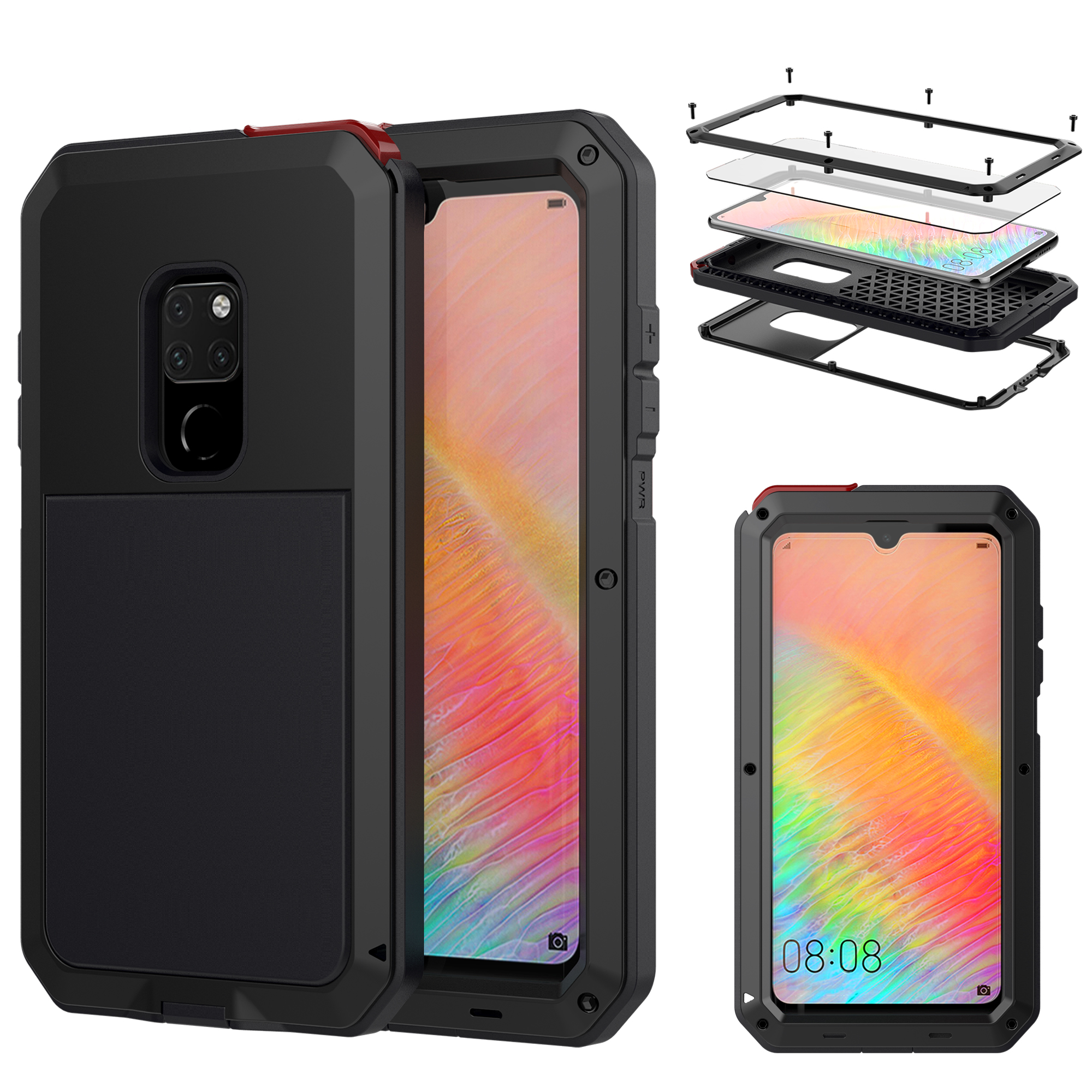 Tempered glass Heavy Duty Protection Doom armor Metal phone Case for <font><b>Huawei</b></font> <font><b>Mate</b></font> <font><b>20</b></font> <font><b>Pro</b></font> P20 <font><b>Pro</b></font> Cases Shockproof Dustproof <font><b>Cover</b></font> image