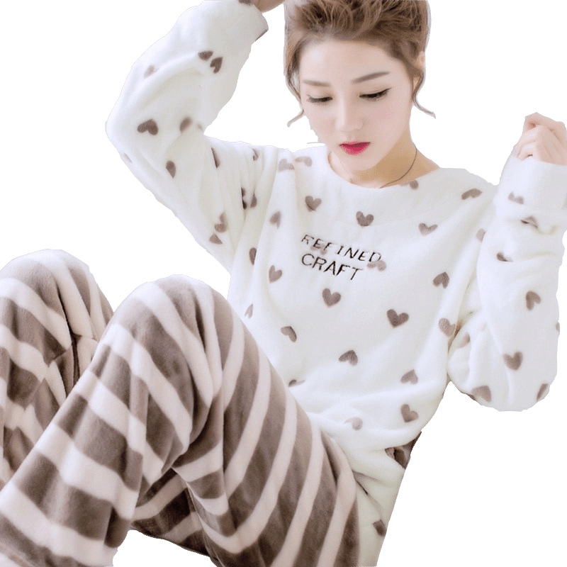 Autumn Winter Women Pajama Set Pyjamas Women Sleepwear Suit Thick Warm Flannel Pijamas Women Cartoon Animal Pyjama Femme Mujer