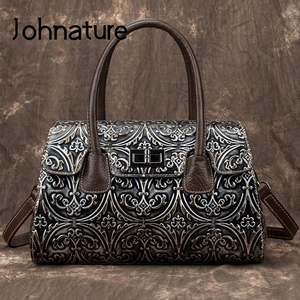 Johnature Genuine Leather Handmade Embossing Women Handbag 2020 New Retro Cowhide Large Capacity Lady Shoulder & Crossbody Bags
