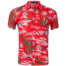 100% terylen Mens Hawaiian Shirts Male Casual Camisa Masculina Printed Beach Shirts Aloha Shirts Short Sleeve Summer Party Shirt(China)