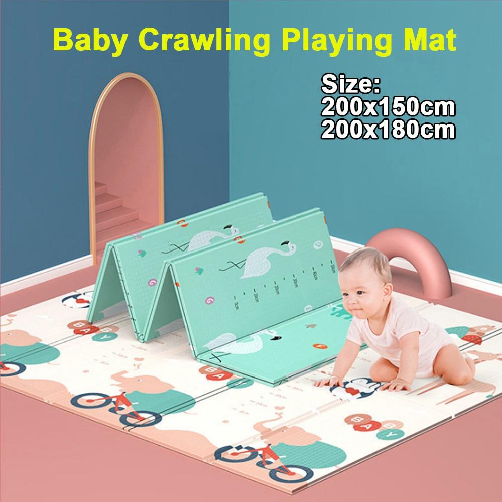 180x200cm Foldable Waterproof Cartoon Baby Play Mat Xpe Puzzle Children's Mat Baby Climbing Pad Kids Rug Baby Games Mats