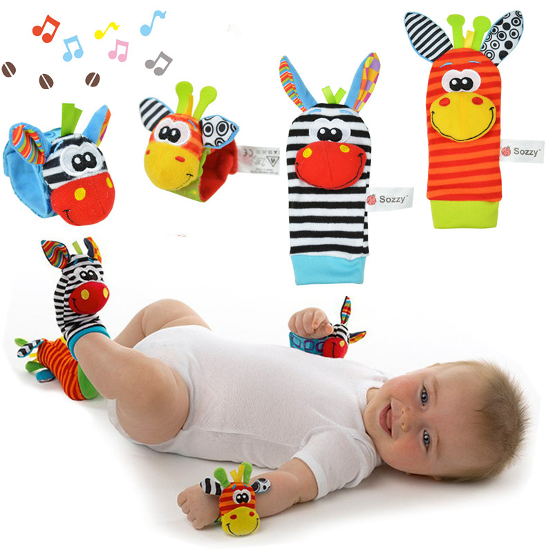 Infant Baby Kids Wrist Rattles Animals Foot Socks Toys Developing 0-12 24 Months Educational Newborns Toddlers Plush Child Soft