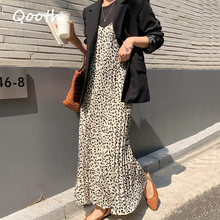 A-Line Dress Spaghetti-Strap Loose Leopard Sexy Elegant Casual Women Kawaii Qooth V-Neck