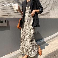 A-Line Dress Spaghetti-Strap Loose Leopard Sexy Elegant Casual Women Kawaii Qooth V-Neck
