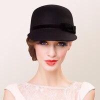 100% Australian Wool Felt Hat Black Bowler Womens Wide Brim Fedoras Ladies Bow Kentucky Derby Party Church Hats Chapeau Femme