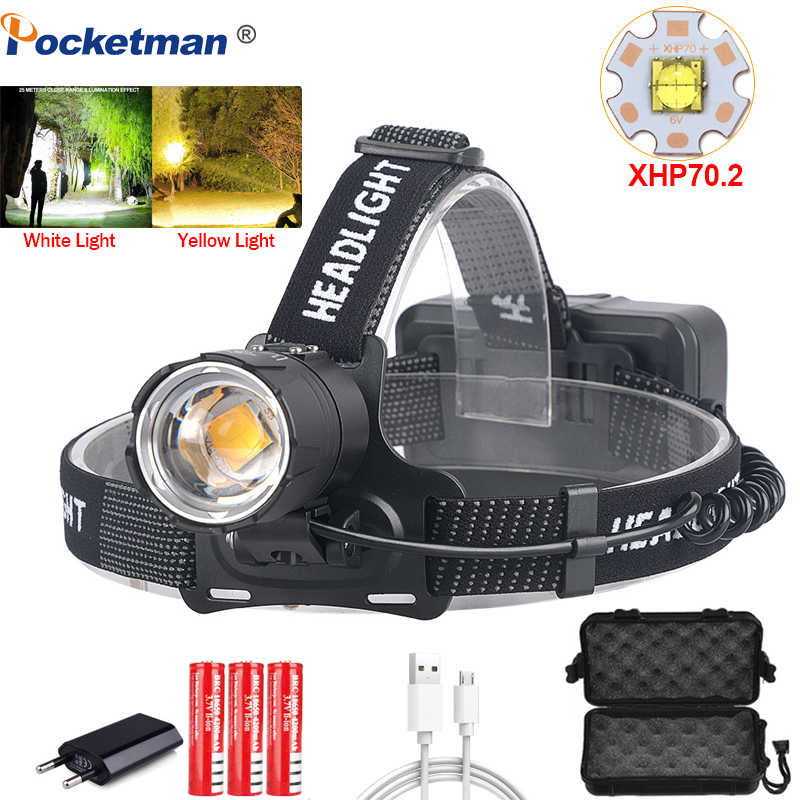 100000LM XHP70.2 Led Headlamp XHP70 Most Powerful Yellow or White Led Headlight Fishing Camping ZOOM Torch Use 3*18650 batteries