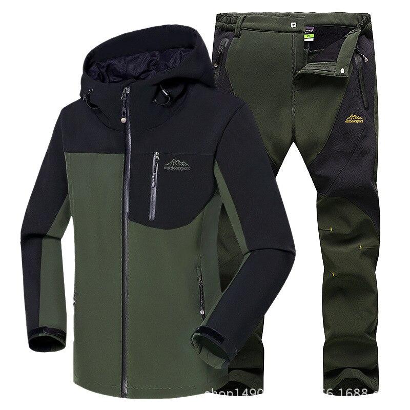 ROMHER homme hiver imperméable pêche ski chaud Softshell polaire randonnée en plein air Trekking Camping veste ensemble pantalon 5XL montée