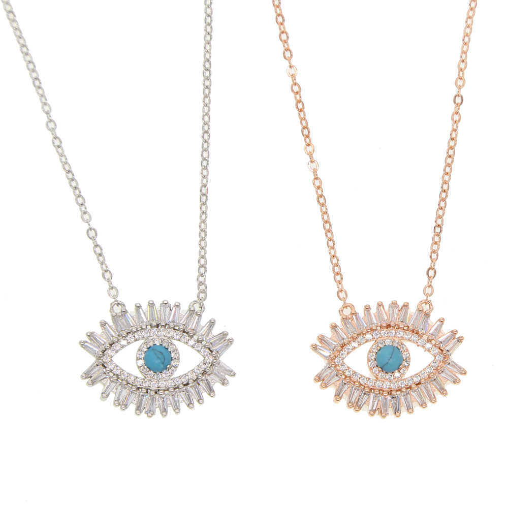 GLÜCK Bösen blick Halsketten Gold Gefüllt AAA Baguette CZ Türkis Stein Anhänger Halskette Mode Klassische Aussage Halskette Schmuck