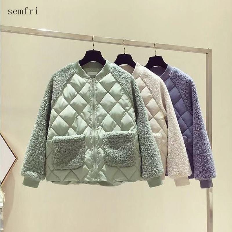 Semfri Lamb Wool Womens Jacket Autumn Winter Warm Thick Down Cotton Jacket Korean Version Loose Casual Coat 2020