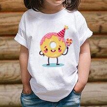 2020 novas crianças camiseta para a menina & menino bebê crianças branco sólido camiseta roupas para a menina verão crianças topo roupas donuts camisa