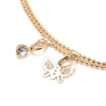 2019 Women Beach Gold Butterfly Pendant Ankle Chain Anklet Bracelet Double Deck Foot Chain Tassel Jewelry Ankle bohemian ankle 2