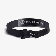 Cazador Custom Silicone Medical Alert ID Stainless Steel Bracelet DIABETIC EPILEPSY SOS Bracelets Engraving Wristband For Unisex