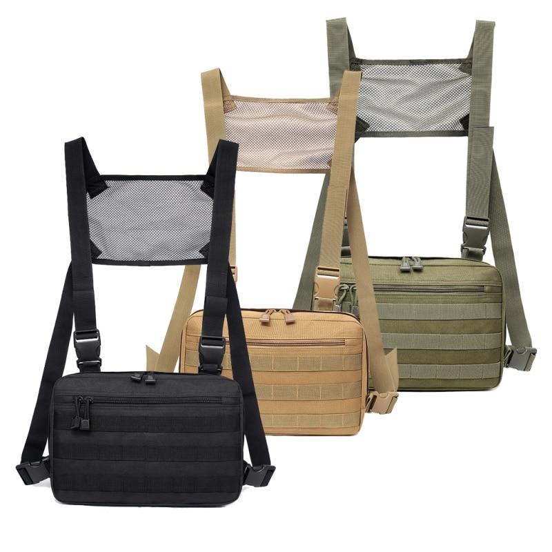 1000D Nylon Outdoor Men Hunting Vest Bags Adjustable Tactical Chest Rig Shoulder Waist Packs Bags Vest