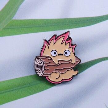 Calcifer Howls движущийся замок, Studio ghibli, удивительный значок пожарного аниме