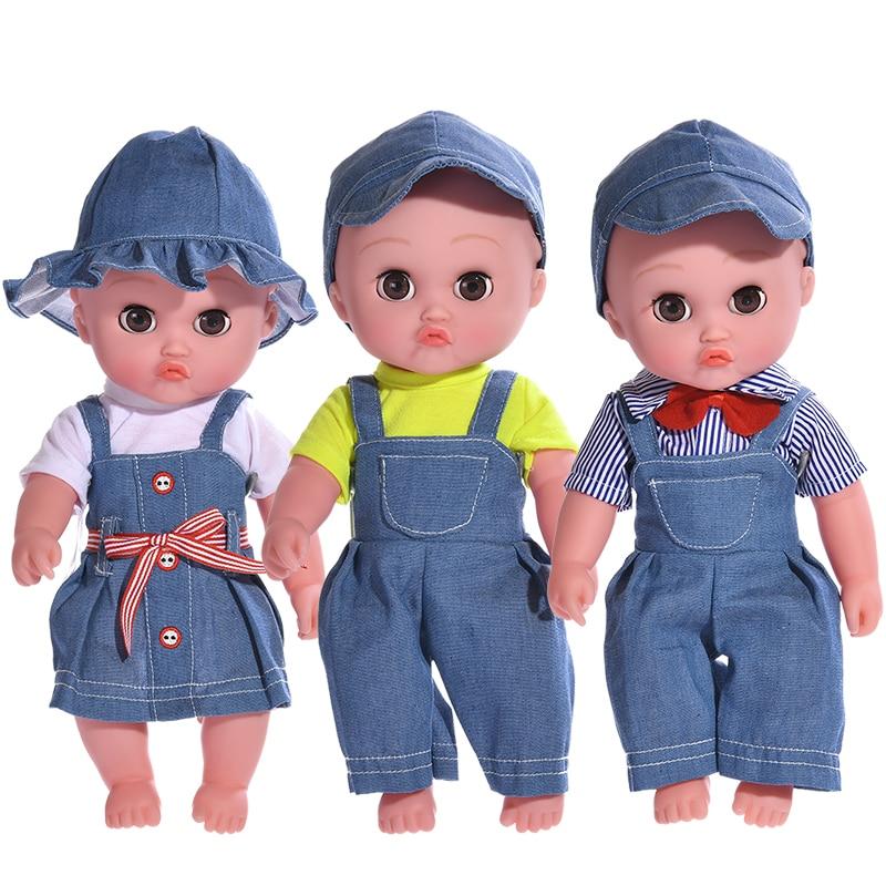 Mode Denim Rebron Baby Puppe Baby Spielzeug Jeans Overalls Kinder Volle Körper Silikon Puppe Weiche Haut Schwarz Weiß Reborn Bebe puppen Spielzeug