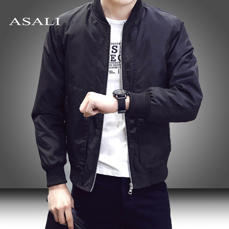 Slim Fit Solid Mens Bomber Jacket 2020 Spring Autumn Male Baseball Thin Jackets Brand Casual Coat Top Men's windbreaker Jacket 1