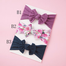 33pc/lot Floral Print Nylon Baby Headbands,Spring Color Hair Bows Nylon Headband,Children Girls Nylon Turban Hair Accessories(China)