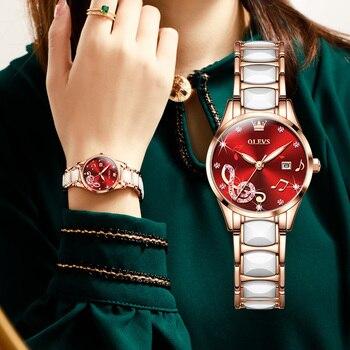 OLEVS 2021 New Light Luxury Women's Watch Fashion Simple Temperament Stainless Steel Ceramic Strap Quartz Watch 3605 1