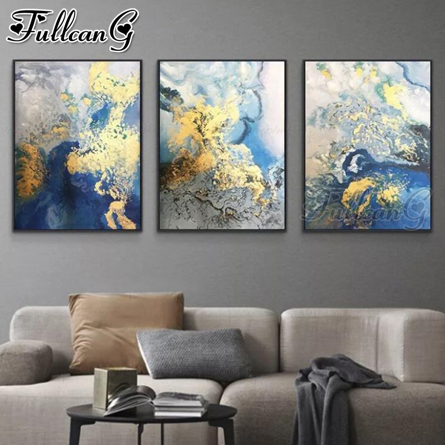 FULLCANG 5d diy diamond embroidery abstract watercolor landscape diamond painting sale triptych full drill home decor FC2293