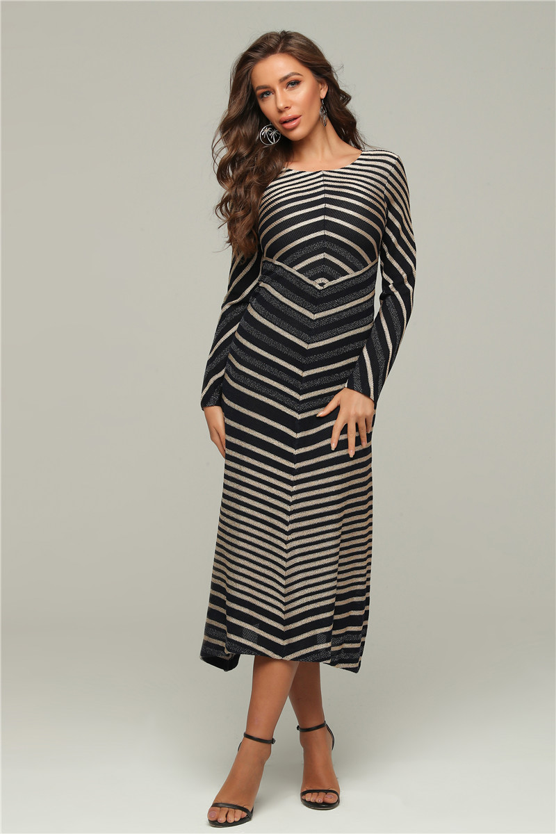 Bandage Dress 2020 New Jacquard Stripe Long Sleeve A Line Long Women Dress Night Party Dress