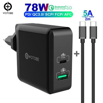 2port 78W USB-C Power Adapter,1Port PD60W and 1Port QC3.0/SCP/AFC 22.5W Charger For huawei p20/30 MacBook iPad Pro iPhone 11 s10