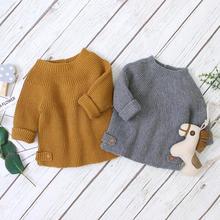 Baby Sweaters Pullovers Fashion Solid Knitted Kids Girls Boys Knitwear Tops Autumn Winter Newborn Bebes Clothes 0-2Y Long Sleeve цена в Москве и Питере