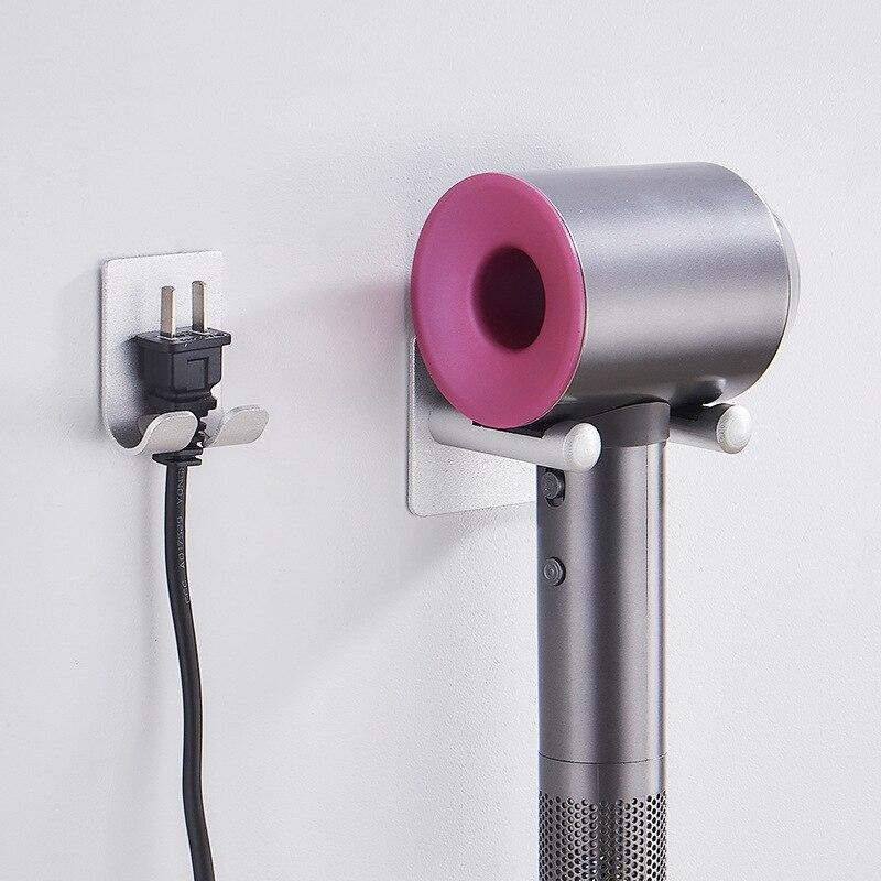 Alumínio Fixado Na Parede Secador De Cabelo Titular Rack de Soquete Set Titular Organizador De Armazenamento Secador De Cabelo Prateleira Do Banheiro Acessórios Do Banheiro