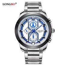 NEW Longbo Men Watch Full Stainless Steel Top Band Sports Quartz Business Watches Dial Clock For Male Leisure Relogio Masculino 1children time sports watch leisure new 5per ytl0815 ttb01