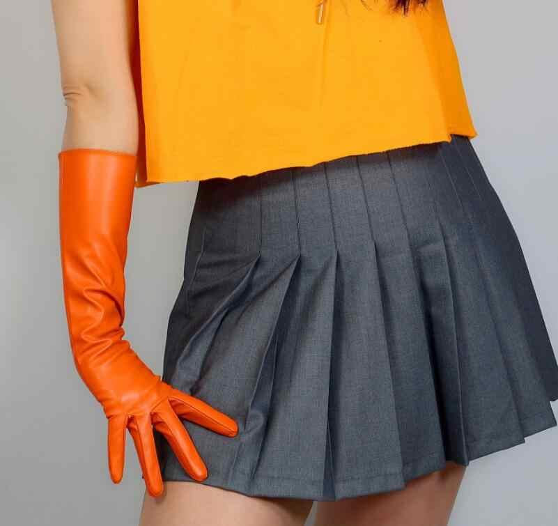 여자 패션 섹시 슬림 가짜 pu 가죽 장갑 레이디의 클럽 성능 공식 파티 가죽 긴 오렌지 컬러 장갑 40cm r2568