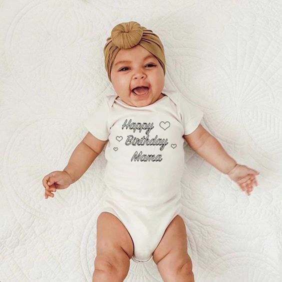 Happy Birthday Mama Baby Boys Girls Unisex Bodysuits 100% Cotton Happy Bithday Mama Cute Baby Party Present Wear Fashion
