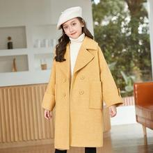7 9 11 14 Years Girls Long Coats Winter Good Quality Elegant Turn Down Collar Overcoats Teen Kids Outdoor Outerwear Jackets