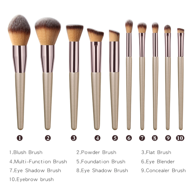10 pcs Professional Makeup Brushes Metal Tube Paint Handle Eye shadow Eyelash Concealer Cosmetic brush Set drop shipping 5