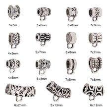 30 unids/lote antiguo broches de plata encantos de conector fianza granos espaciador tubo colgante de Metal pulsera Diy accesorios de fabricación de la joyería