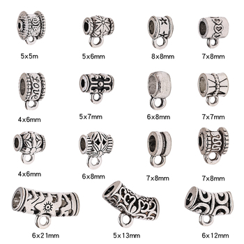 30pcs/lot Antique Silver Clasps Connector Charms Bail Beads Spacer Tube Metal Pendant Bracelet Diy Jewelry Making Accessories 20pcs antique silver tone dog charms cat pendant for jewelry accessories making 19 18mm