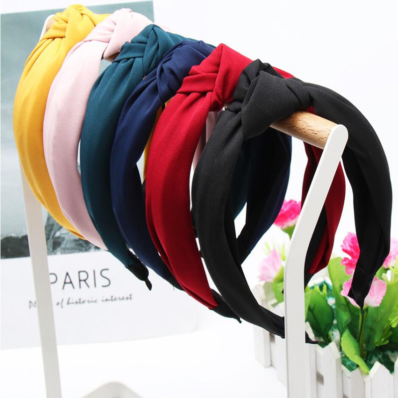 1PC Solid Color Hair Band Knot Headbands For Women Simple Fashion Fabric Hairhoop Wide Side Bezel Girls Hair Accessories