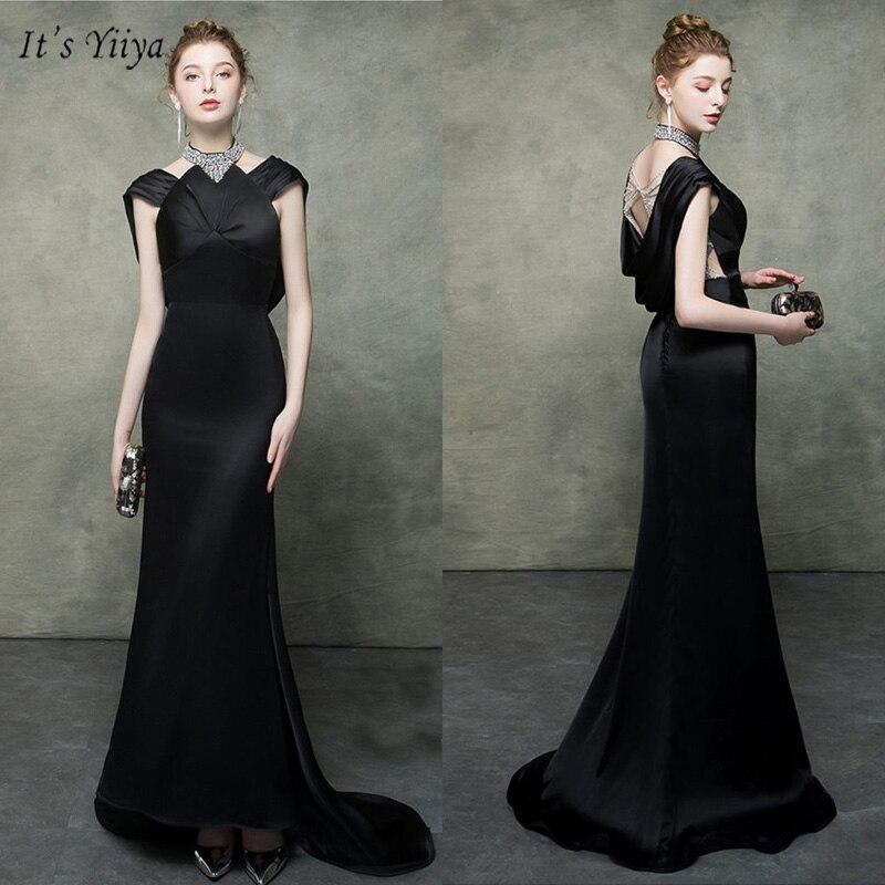 It's Yiiya Evening Dress Backless Halter Short Sleeve Floor-Length Women Party Dresses Crystal Mermaid Robe De Soiree V099