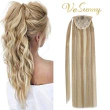 VeSunny Ponytail Extensions Wrap Around Magic Tape 100% Human Hair Highlights Caramel