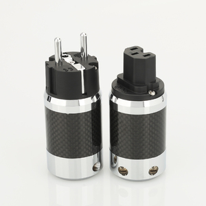 Image 1 - 1 paar X Hoge Kwaliteit Hi End EU Schuko Rhodium Plated Carbon Fiber AC Power Plug Connector uitbreiding adapter
